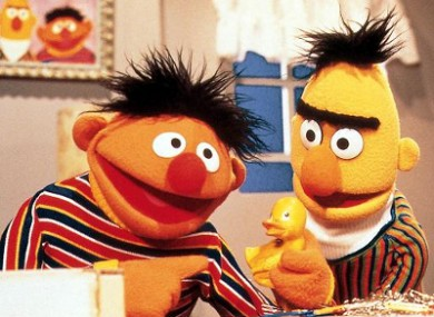 Ernie (left) and Bert: the latter has described his hair as 'mo' on Twitter, leading some to believe the tweet was an admission of his homosexuality.