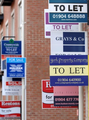 Stock photo of to let signs on  a street in York