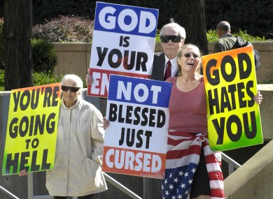 The Phelps family regularly protests at military funerals, claiming soldiers die because America tolerates homosexuality.