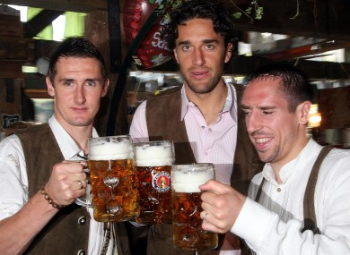 Miroslav Klose, Luca Toni and Franck Ribery at Oktoberfest last year