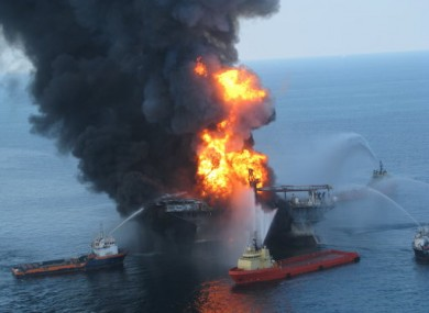 Fire boats tackle the blaze on the Deepwater Horizon, 21 April, 2010.