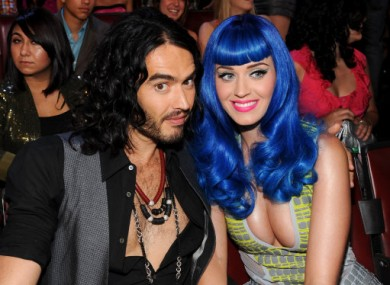 The happy couple: Brand and Perry appearing at the MTV Awards in June.