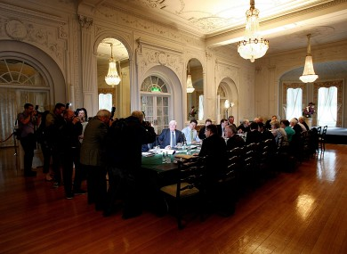 Cabinet ministers meet in July at the cabinet room in Farmleigh. They discussed €3bn in budget adjustments in July - today they could decide up to twice that amount.