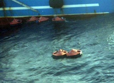In this image released by the French Navy life raft are seen near the factory fishing vessel Athena today.