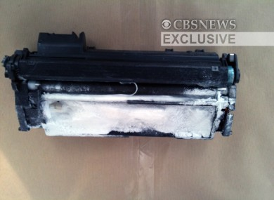 An image of the printer toner cartridge recovered at East Midlands airport in the UK, packed with 300g of PETN explosives.