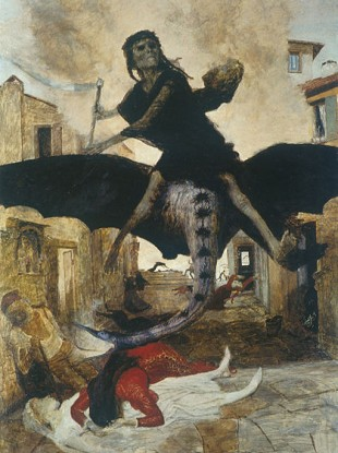 Artist Arnold Bocklin's impression of the 14th century Black Death stalking Europe.