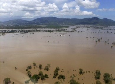 In this image provided by the Rockhampton Regional Council, water inundates the outskirts of Rockhampton, Australia, 4 January, 2011.