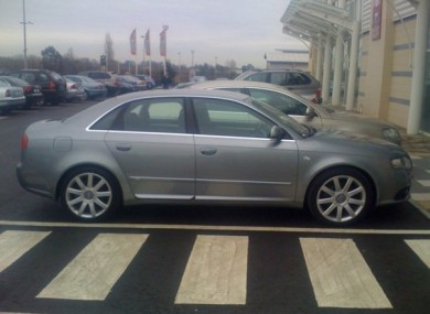 Warren's car, a Dolphin grey Audi A4.