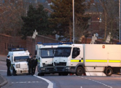 PSNI and British Army bomb disposal units such as these have been called to the scene in north Belfast