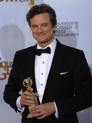 Colin Firth with the Golden Globe for Best Actor for his role as George VI
