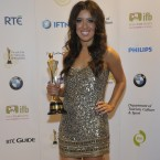 Lottie Ryan, with the IFTA won by Operation Transformation for Best Factual Programme at the 8th Irish Film and Television Awards. She accepted the award on behalf of her late father, Gerry. Photo by KOBPIX.