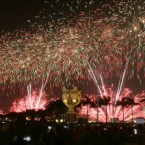 Fireworks in Hong Kong Friday celebrate the Chinese New Year this week - it is the Year of the Rabbit.<span class=