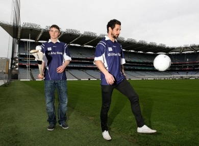 Galvin (right) with UCD hurler Liam Rushe at the launch of this year's Sigerson Cup in Croke Park.