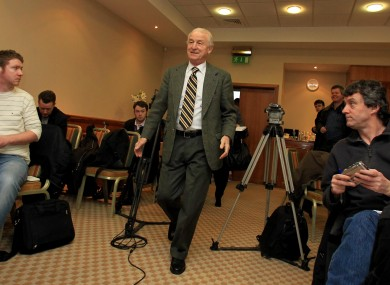 Giovanni Trapattoni arrives for a press conference this week.