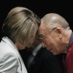US congresswoman and former speaker Nancy Pelosi touches heads with the Dalai Lama, who received the first Lantos Human Rights Prize in October 2009, on Capitol Hill in Washington.   (AP Photo/Harry Hamburg)