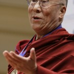 The Dalai Lama speaks at the Library of Congress in Washington in February 2010, where he was honored by the National Endowment for Democracy with the Democracy Service Medal.   (AP Photo/J. Scott Applewhite)