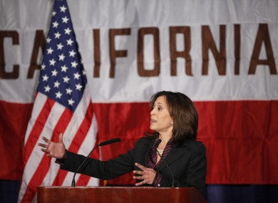 California's attorney general Kamala Harris wants same-sex unions to continue while the courts rule on the validity of a ban on the practice.
