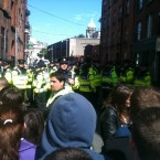 Gardaí on Castle Street after a group of people pushed through the crowd control barriers. (Image: Gerard Fogarty)