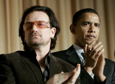 Bono and Barack Obama attend an event held by George Bush in 2006. Bono has spoken of how the President essentially ignored him at a dinner in the latest Hot Press.