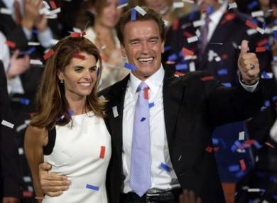 File photo showing Shriver and Schwarzenegger celebrating his 2003 gubernatorial victory.