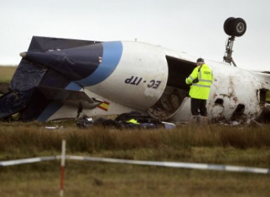 The crashed Manx2 aircraft at Cork Airport on 10 February