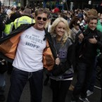 David Hasselhoff shows a sense of humour in London during a display of cars that will participate in this year's Gumball 3000 international car rally. (AP Photo/Lefteris Pitarakis)