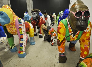 50 life-size gorilla sculptures, called 'Wow! Gorillas' are being kept as they await their placement on the streets of Bristol on July 4th to celebrate the birthday of Bristol Zoo.