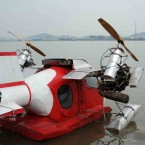 A homemade seaplane built by Liu Chunsheng, 40, after studying aeroplane magazines in Guangzhou, China (ChinaFotoPress/GZRB/Photocome/Press Association Images)