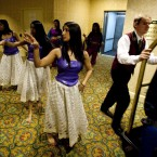 Bollywood dancers practice before an event in a hallway of the Royal York hotel in Toronto, Canada (The Canadian Press/Darren Calabrese)