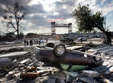 The devastated Lower Ninth Ward of New Orleans in the aftermath of Hurricane Katrina