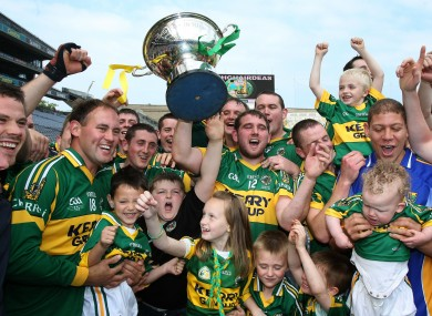 Yes, that IS a Kerry hurling team with a trophy. Captain Mikey Boyle hoists the Christy Ring Cup at Croke Park.
