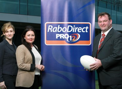 Aoife Mahon, Offline Marketing Manager, RaboDirect, Gina McCrudden, Investments Marketing Manager, RaboDirect and John Feehan, Chief Executive, RaboDirect PRO12, pose at today's official launch.