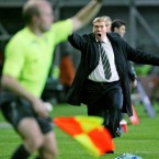 Republic of Ireland manager Steve Staunton reacts during the UEFA European Championship Qualifying match at Croke Park, Dublin in 2007.