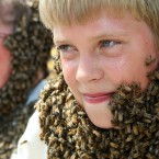 Beekeepers Barbara Lindberg and 12-year-old Jordan Hiemstra show off their 'bee beards' in Aylmer, Ontario. (AP Photo/DAVE CHIDLEY, The Canadian Press)