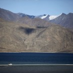 Mountains at Pangong Lake, near the Chinese border in Kashmir, India. (AP Photo/Channi Anand)