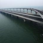 Qingdao Jiaozhou bay bridge in Qingdao, China. The 42km structure is the longest cross-ocean bridge in the world (Zang Lei/ChinaFotoPress)
