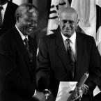 Both Mandela and de Klerk were awarded the Nobel Peace Prize in 1993. (AP-Photo/Remy de la Mauviniere)