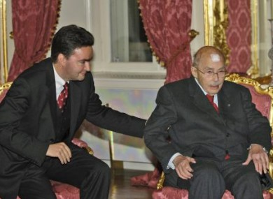 Otto von Habsburg with his son George on the occasion of his 95th birthday.