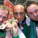 Hugh Sweeney, Oliver Boyle and Shaun Bradley with their medals.