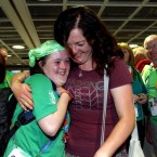 Clodagh Kilcullen and Raedi Higgins at the gate.