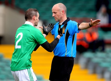 Limerick's Tommy Stack appeals to referee Cormac Reilly as he signals a penalty, but then changes his mind.