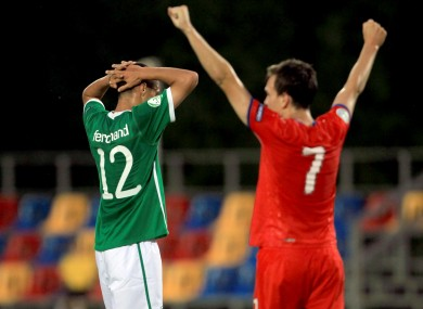 Ireland's Kane McGovern holds his head at the end of the game.