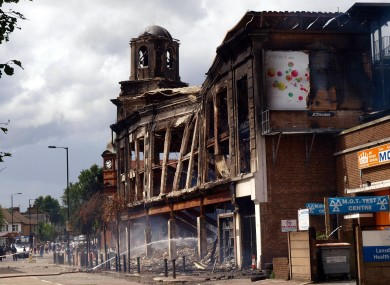 The aftermath of last night's rioting in Tottenham, north London