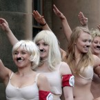 Performers from Hitler the Musical at the Edinburgh Fringe Festival (David Cheskin/PA Wire)