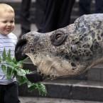 Winny Saur, the Australian Museum's robotic Muttaburrasaurus, makes friends with two-year-old Matthew Kealy in Sydney (AP Photo/Rick Rycroft)