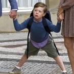Young Prince Christian of Denmark on his way to his first day at school (Julian Parker/UK Press)