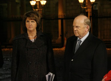 Joan Burton and Michael Noonan appeared to be at odds over the introduction of the private sector pensions levy, according to documents obtained by Fianna Fáil.