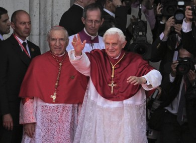 Pope Benedict XVI at Madrid's Almudena Cathedral today to celebrate the Catholic Church's World Youth Day