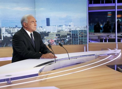 Strauss-Kahn during yesterday's interview on French TV