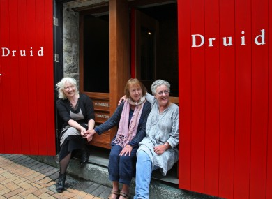 Lally's Druid co-founders Marie Mullen and Garry Hynes with Mick Lally's wife Peig (centre) at the memorial.